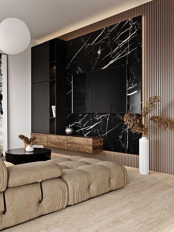 Revestimento marmorizado preto na sala de estar moderna
