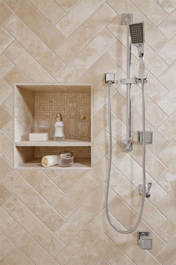 Revestimento bege para banheiro moderno
