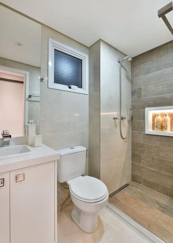 Revestimento para banheiro bege e chique
