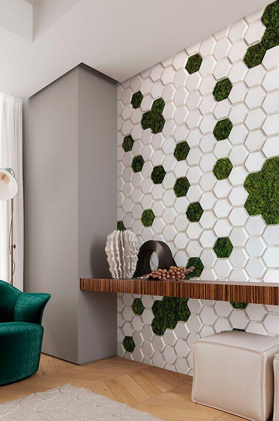 Revestimento para parede verde e branco