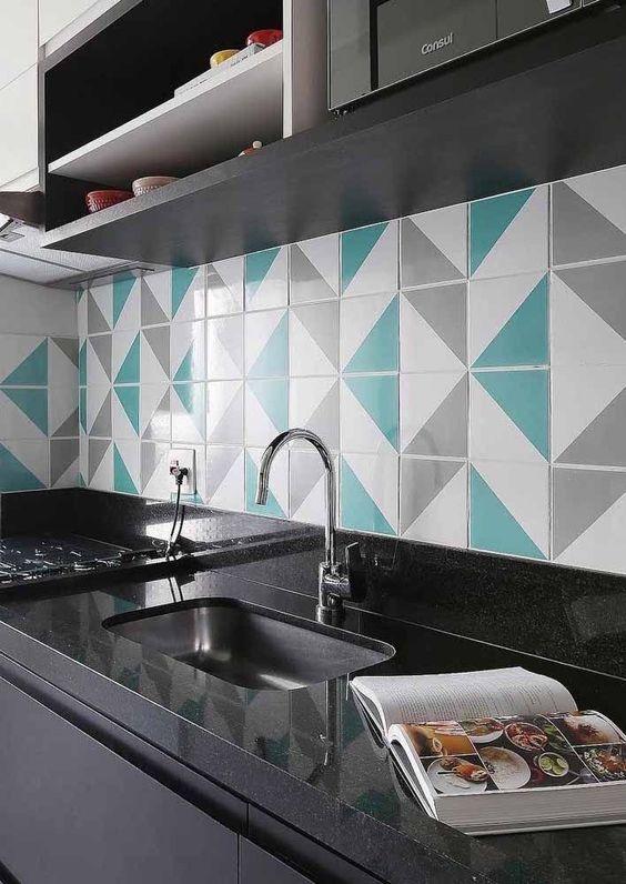 Revestimento verde água para cozinha moderna