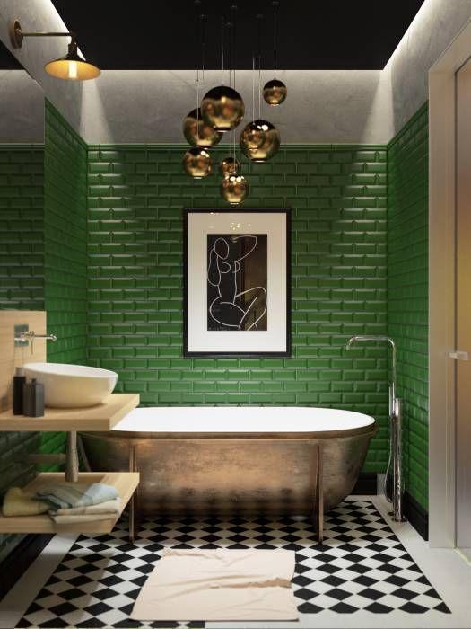 Revestimento verde de tijolinho para banheiro moderno