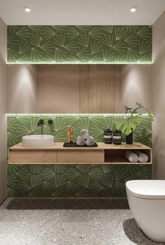 Revestimento verde para banheiro