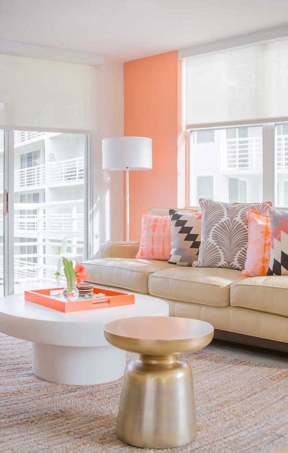 Sala chique cor coral e bege