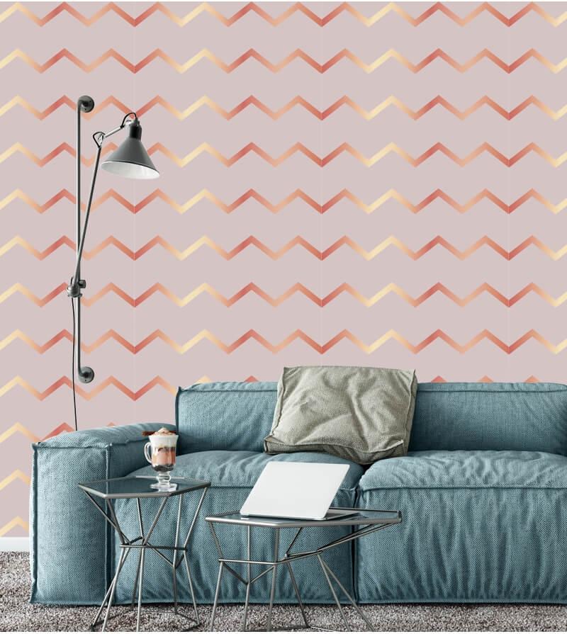 Sala cinza com papel de parede rose gold