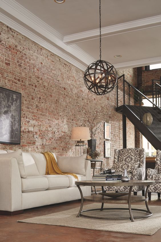 Sala com papel de parede rustico e sala bege