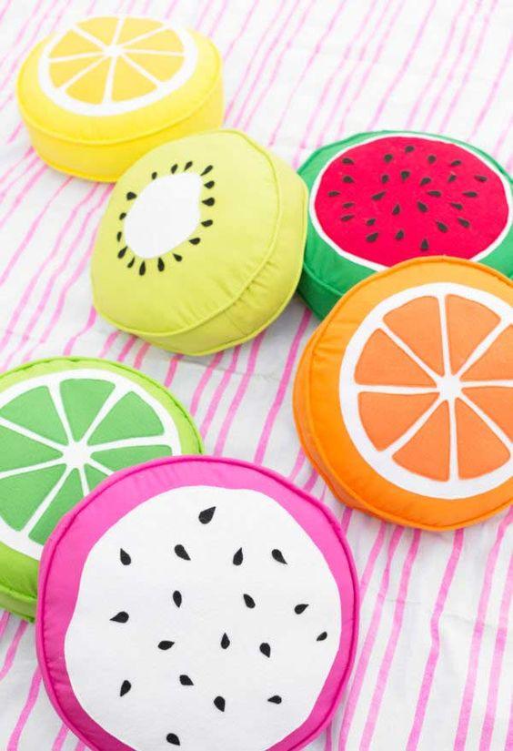 Tecido para almofada de frutas colorido