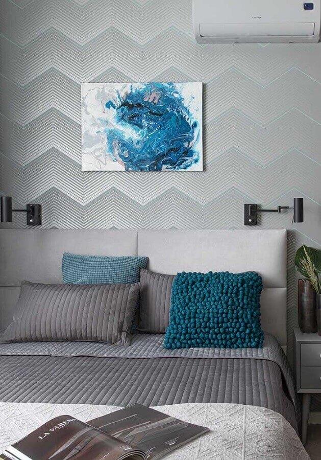 Almofadas para decorar quarto cinza e azul