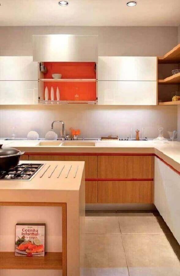 armário aéreo de cozinha planejada em cores claras  Foto Jeito de Casa