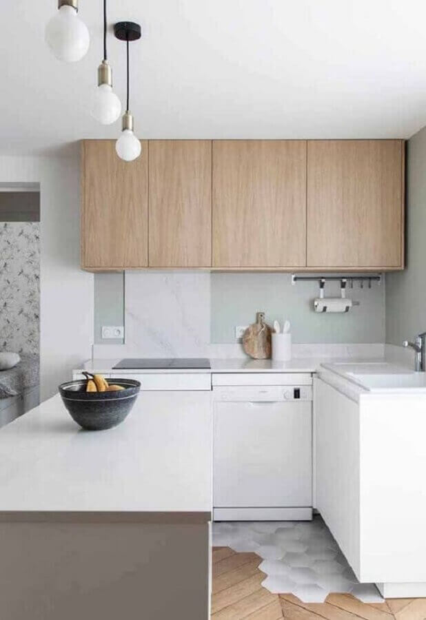 armário aéreo madeira para decoração de cozinha planejada branca  Foto Histórias de Casa