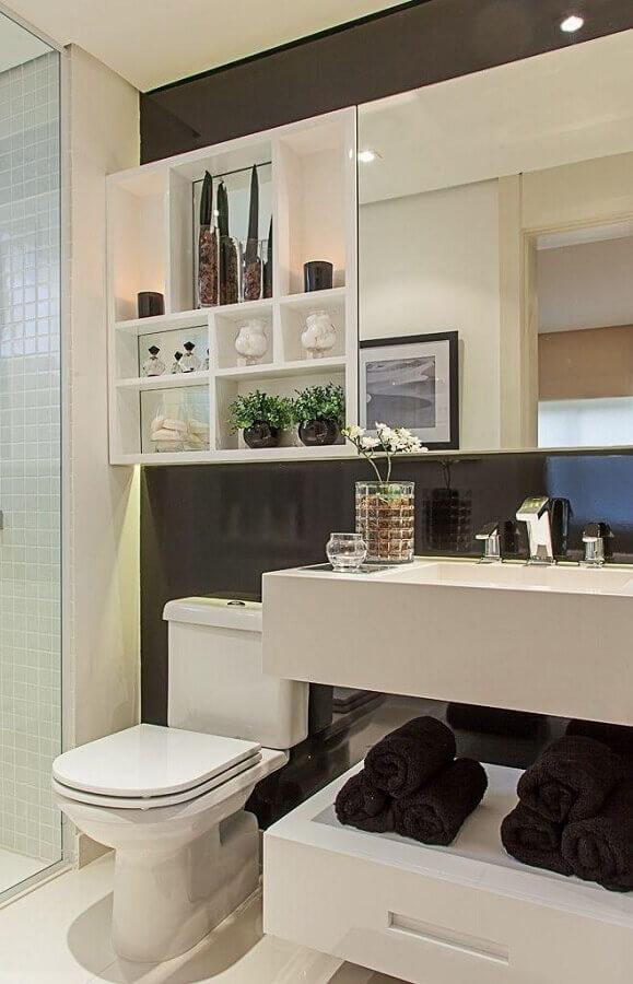 Armário espelheira para banheiro preto e branco