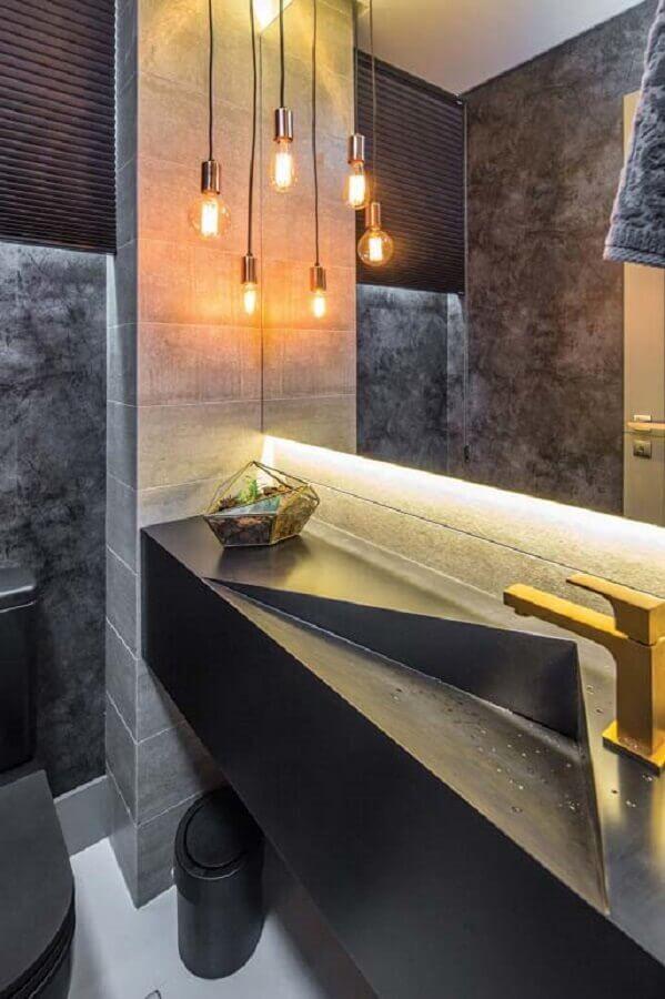 bancada cinza com cuba esculpida para banheiro social moderno Foto Home Fashion Trend