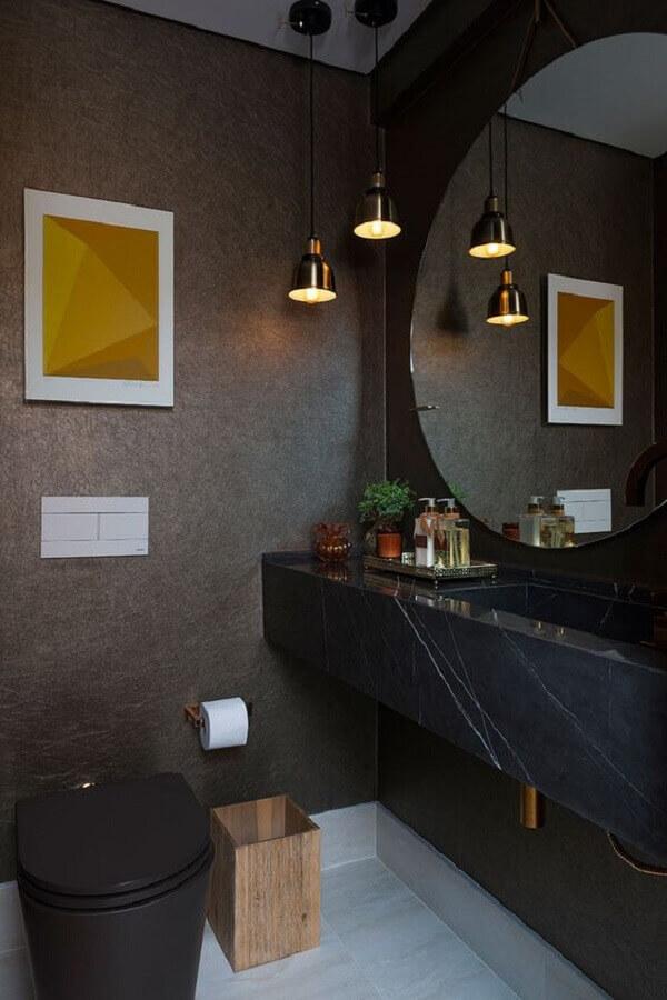 Bancada de mármore preto para decoração de banheiro moderno e sofisticado