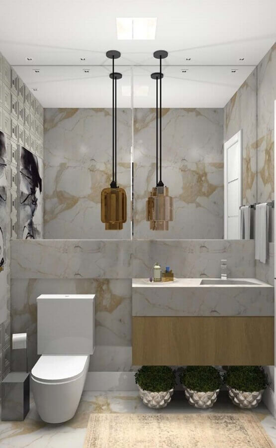Bancada de mármore para banheiro pequeno e moderno