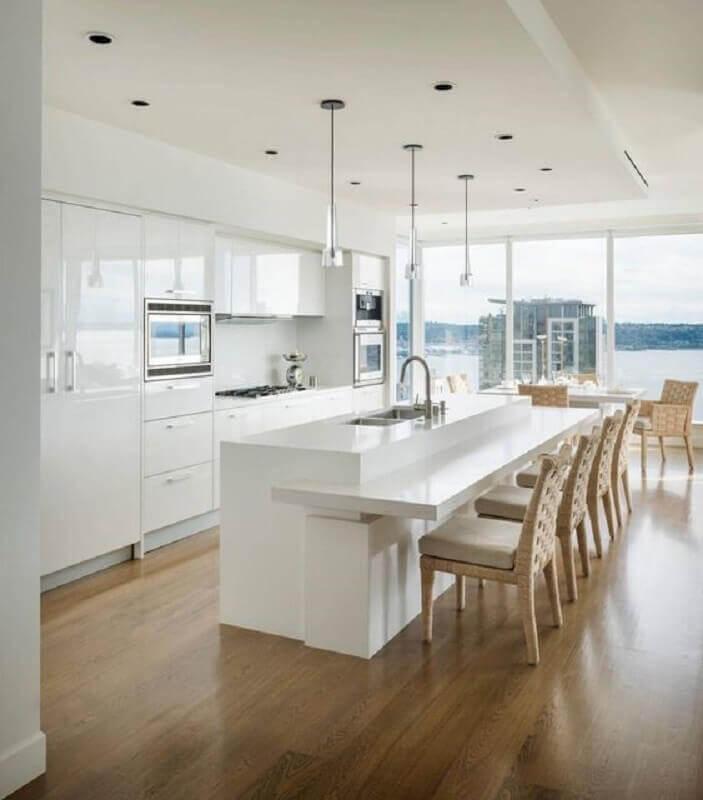 bancada ilha gourmet para decoração de cozinha branca planejada Foto Home Adore