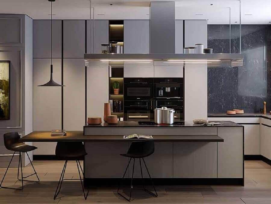 bancada ilha gourmet para decoração de cozinha cinza moderna Foto Behance