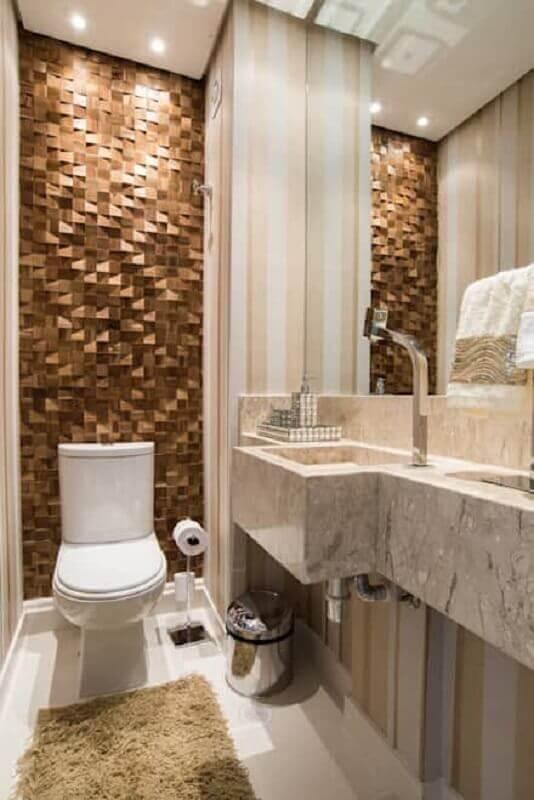 banheiro social decorado com revestimento 3D Foto Homify