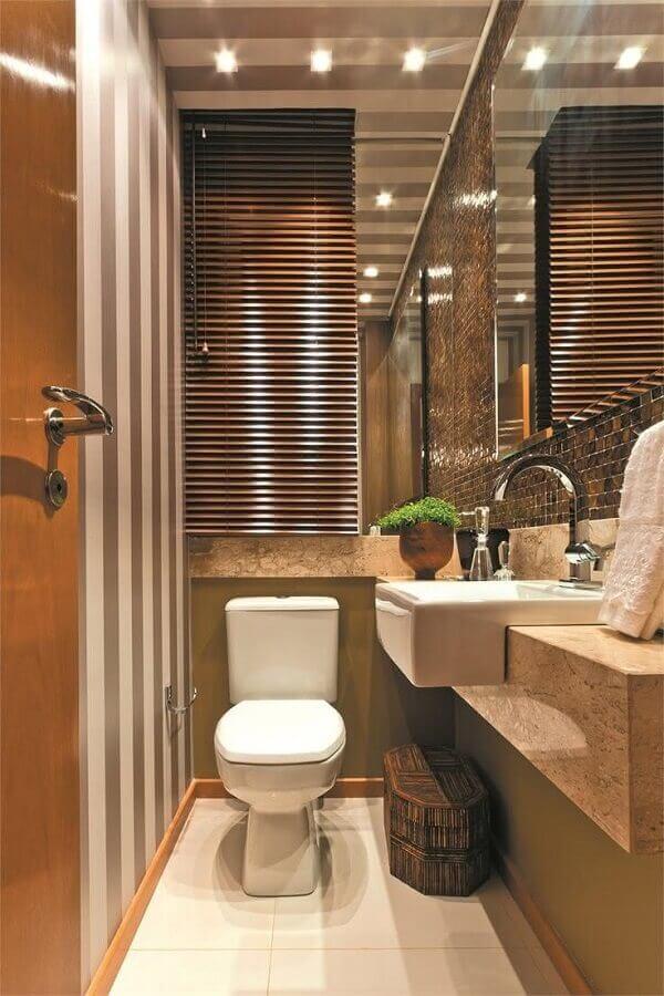 banheiro social pequeno decorado em cores neutras Foto Dicas Decor
