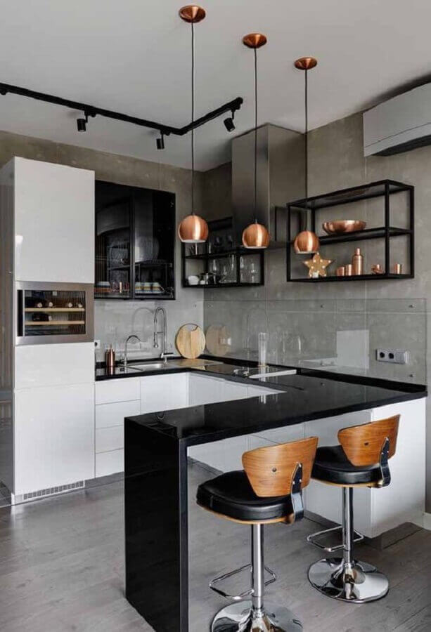 Banquetas para bancada de cozinha americana decorada com estilo industrial