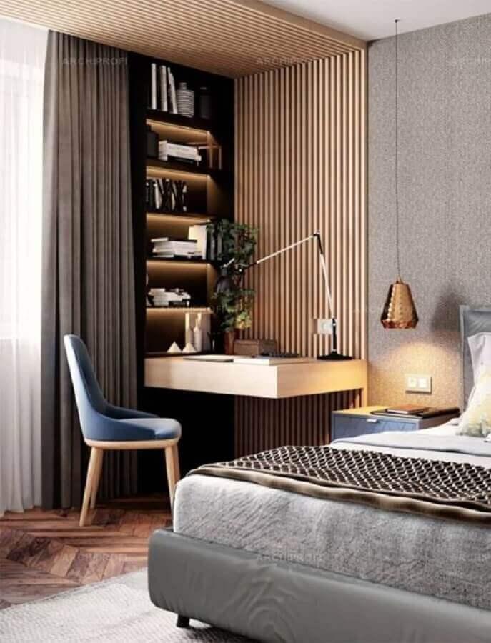 cadeira acolchoada para bancada de estudos no quarto com decoração moderna Foto Behance