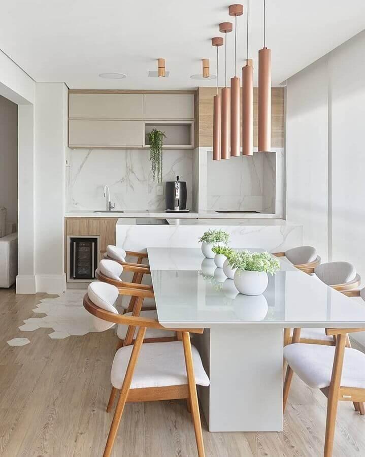 cadeiras acolchoadas para decoração de varanda gourmet moderna Foto Decor Salteado