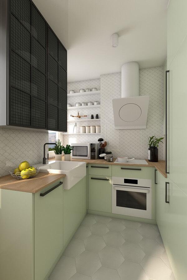 Cor verde claro para decoração de cozinha pequena planejada
