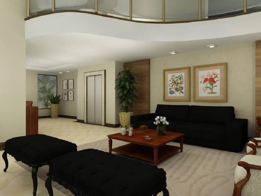 cores claras para sala decorada com puff banqueta preto clássico Foto Pinterest
