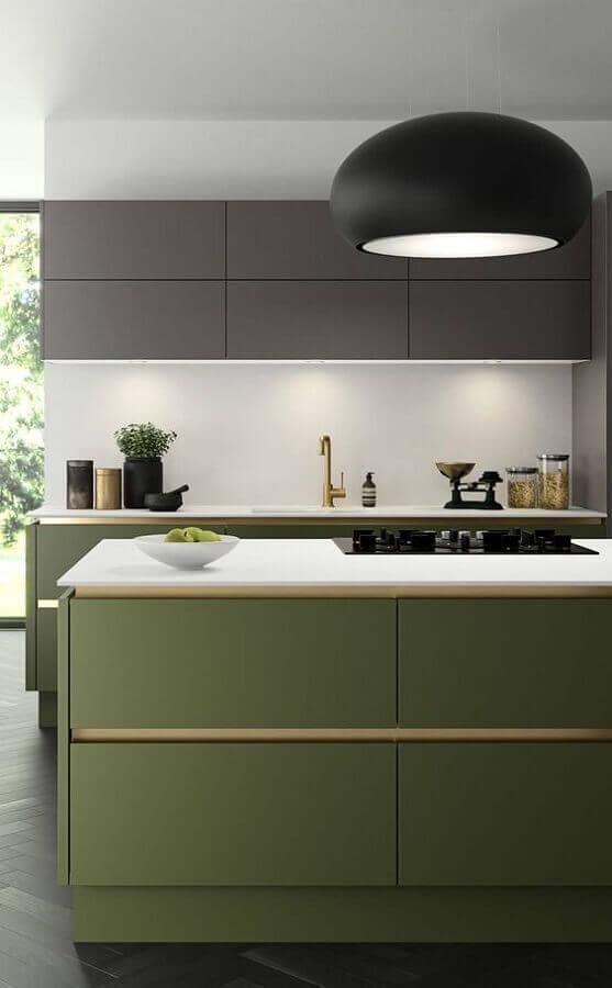cozinha moderna com ilha verde oliva Foto Home Designs