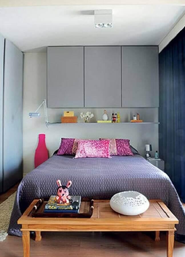 decoração com armário aéreo para quarto simples Foto Pinterest