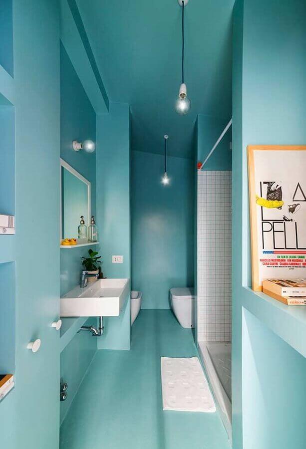 decoração de banheiro azul claro planejado Foto Pinterest