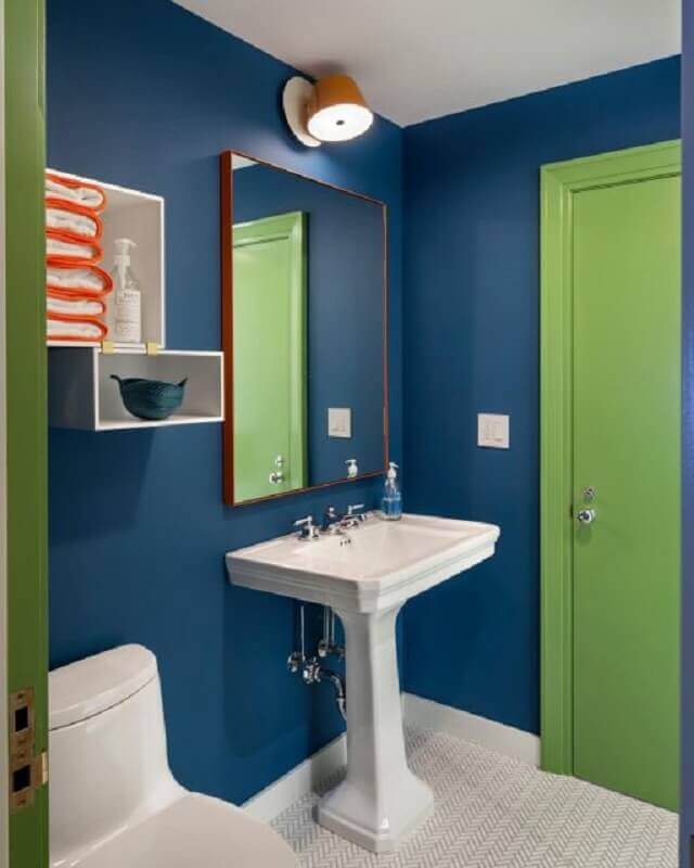 decoração de banheiro azul e verde Foto Pinterest