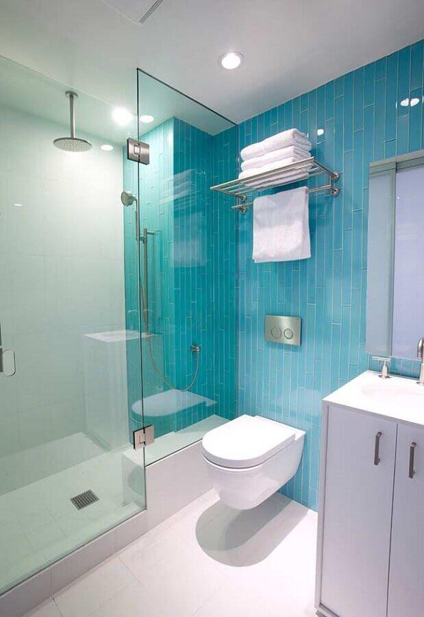 decoração de banheiro azul turquesa e branco Foto Home Fashion Trend