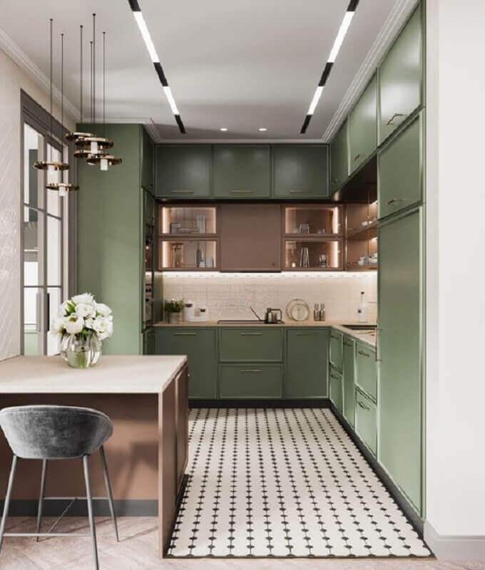 decoração de cozinha planejada com armário verde oliva  Foto Pinterest