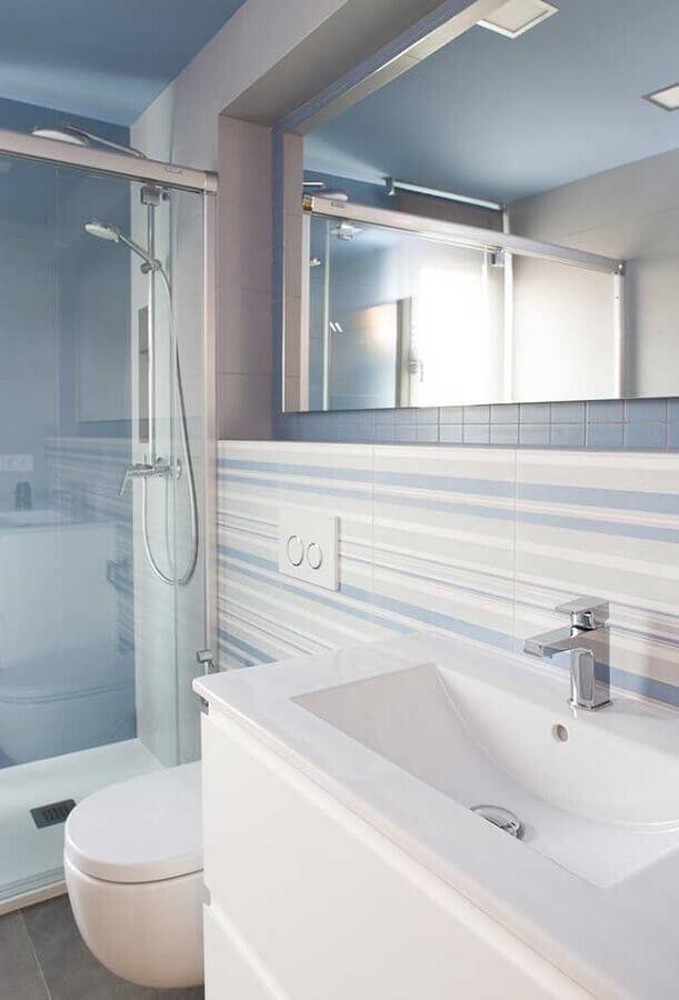 decoração delicada para banheiro azul claro e branco Foto Home Fashion Trend