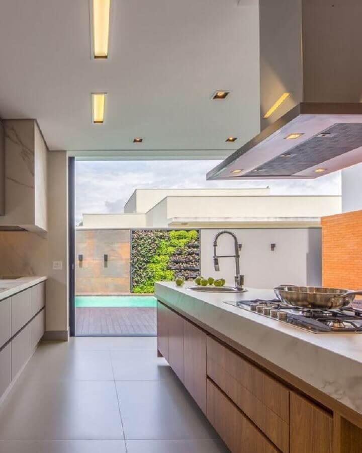 decoração em cores neutras para cozinha gourmet com ilha Foto Decor Salteado