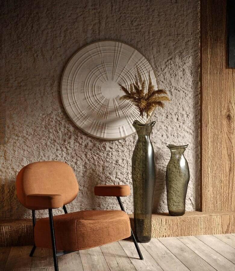 decoração em tons terrosos com poltrona marrom moderna Foto Behance