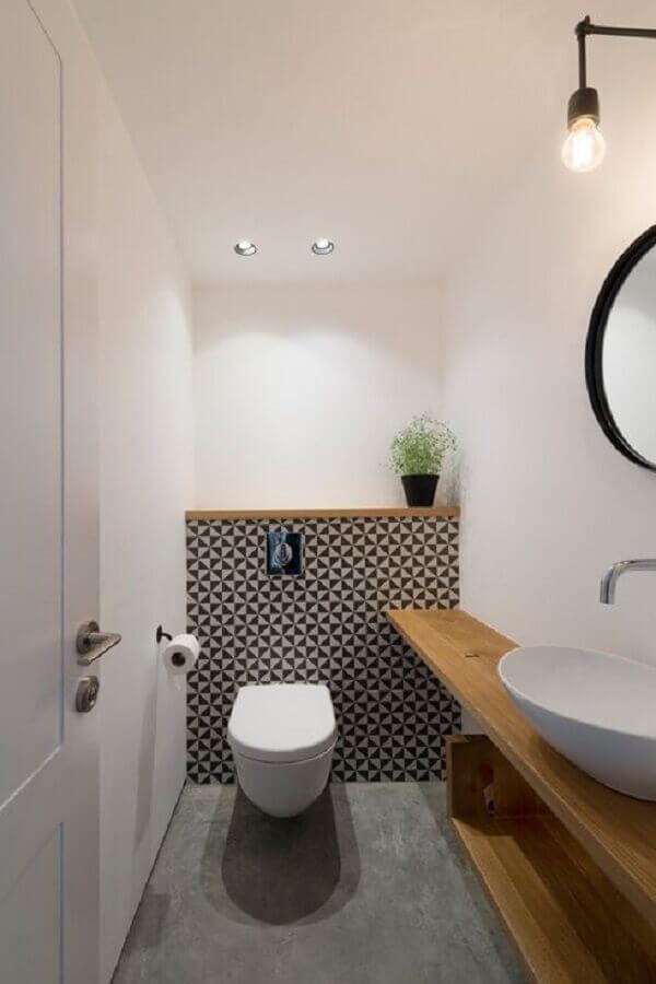 decoração minimalista para banheiro social pequeno Foto Arquitrecos