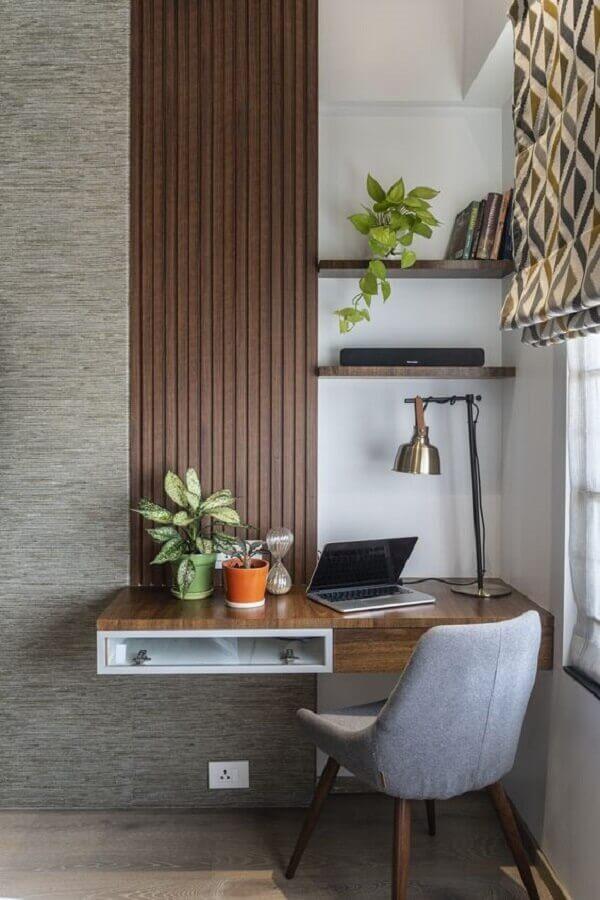 decoração moderna com cadeira acolchoada para estudo Foto Histórias de Casa