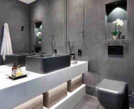 decoração moderna para banheiro social com parede de cimento queimado Foto Casa de Valentina