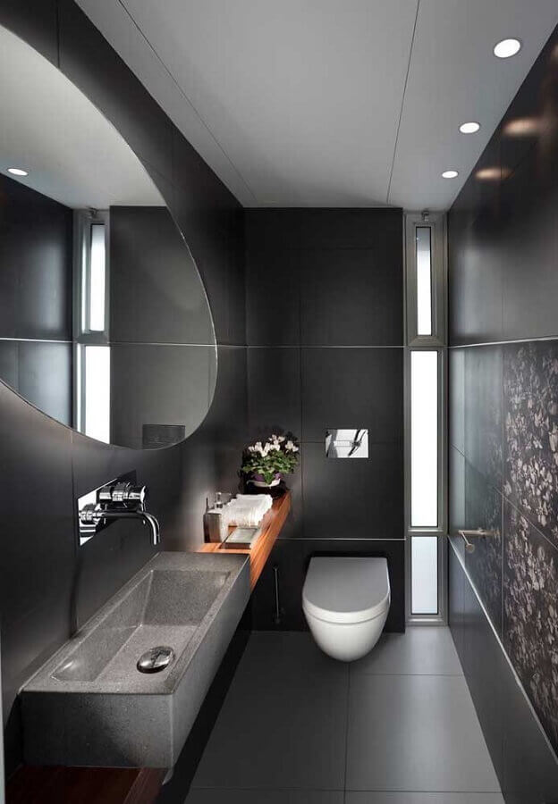 decoração moderna para banheiro social preto Foto Architecture Art Designs