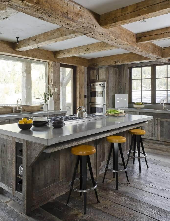 decoração rústica para cozinha com ilha gourmet Foto Sometimes Daily