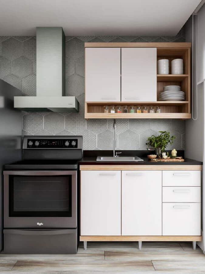 decoração simples com armário de cozinha aéreo  Foto Pinterest