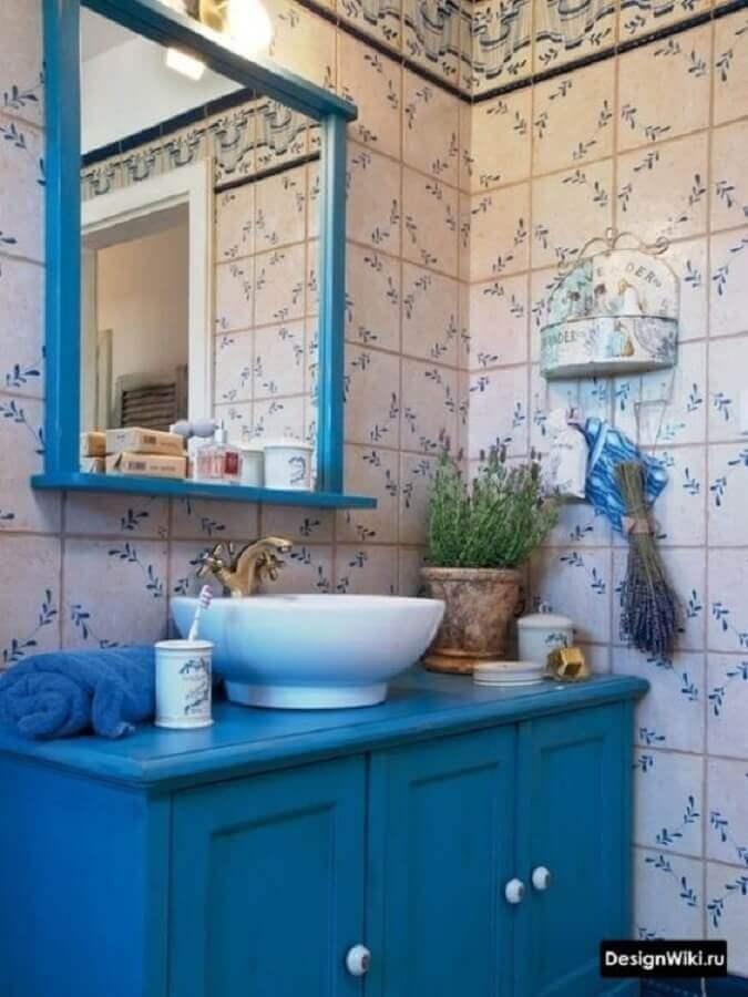 decoração simples para banheiro azul antigo Foto Pinterest