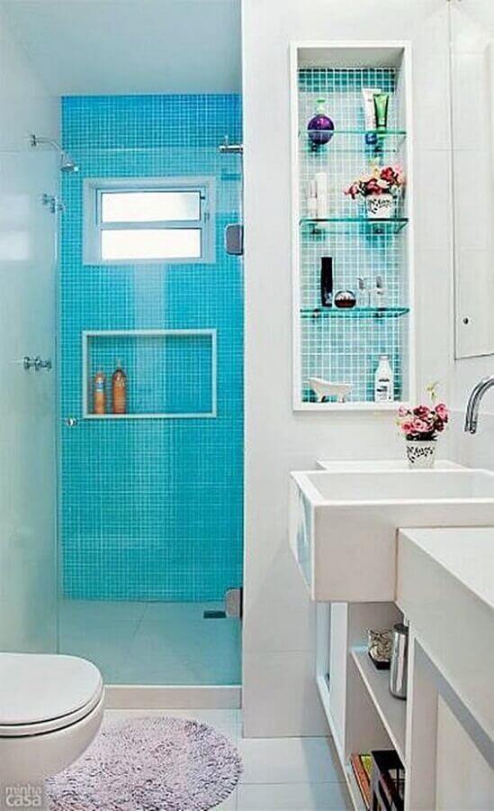 decoração simples para banheiro com pastilha azul turquesa Foto Simples Decoração