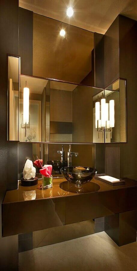 decoração sofisticada para banheiro social Foto Homify