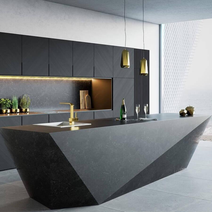 decoração sofisticada para cozinha preta moderna com ilha gourmet Foto Futurist Architecture