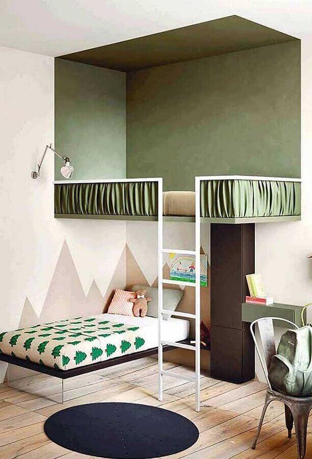 decoração verde oliva para quarto infantil planejado com cama suspensa Foto Yandex