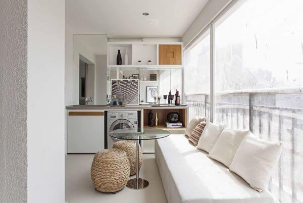 Decoração de lavanderia na varanda gourmet