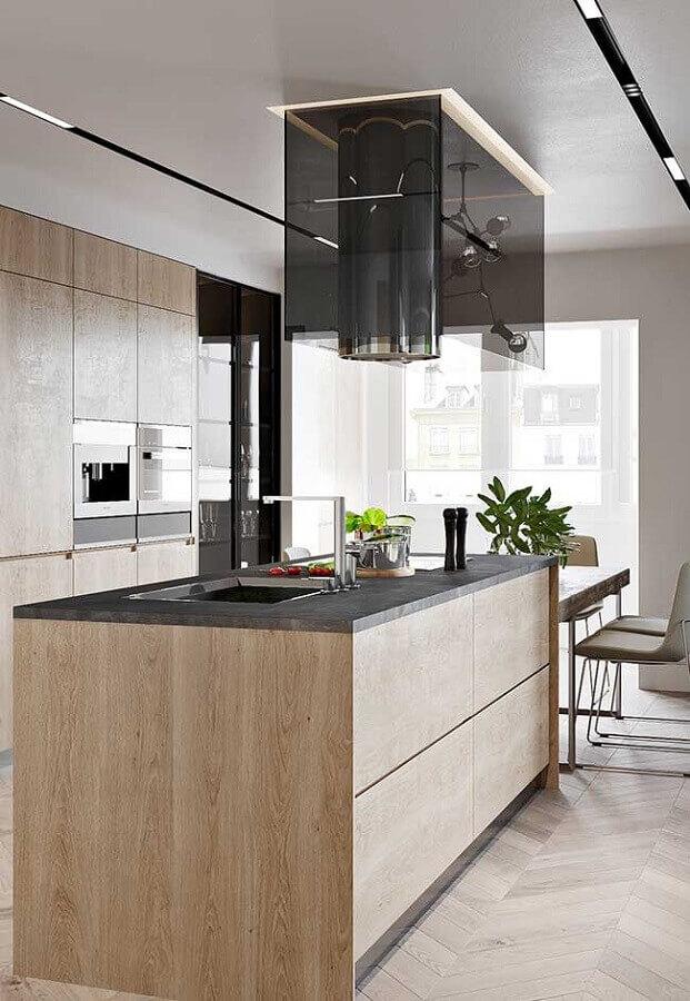 ilha gourmet de madeira para decoração de cozinha planejada moderna  Foto Maurício Gebara Arquitetura