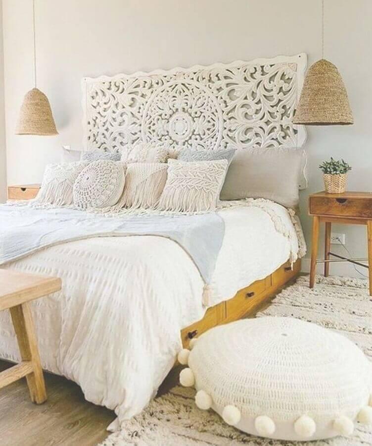 Jogo de almofadas para quarto simples decorado em cores claras